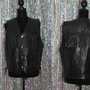 Jackets & Blazers - talian Stone Fringe Leather Vest (L)